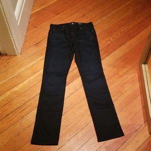 7 for all mankind dark blue straight leg jeans